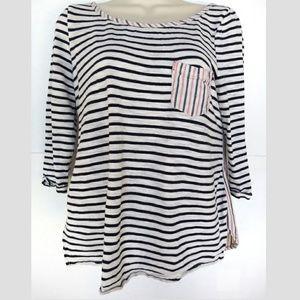 Postmark Stripes shirt Sz M Button Back Nautical